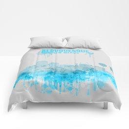 Albuquerque Monochrome Blue Skyline Comforters