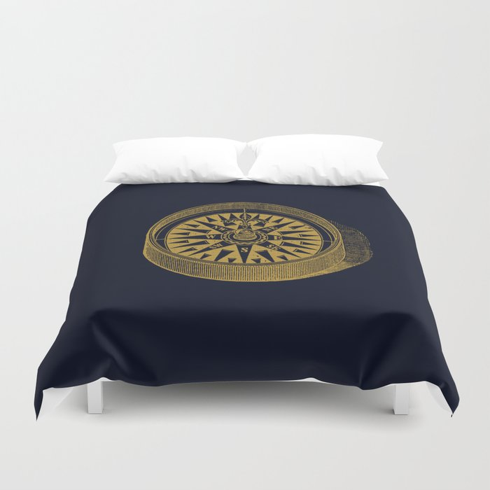 The golden compass I- maritime print with gold ornament Duvet Cover