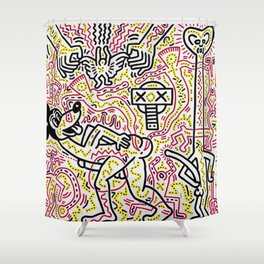 Untitled Inspired to Keith Haring Shower Curtain
