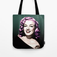 rockabilly Tote Bags featuring Rockabilly Marilyn by Tamsin Lucie