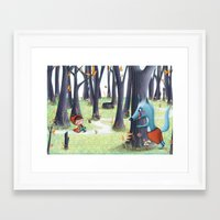 red riding hood Framed Art Prints featuring Red Riding Hood by Antoana Oreski Illustration