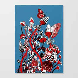 Magic Mushroom Red black blue Canvas Print