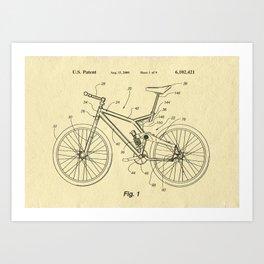 Bike suspension patent Art Print