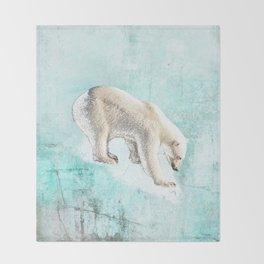 Polar bear on thin ice Throw Blanket