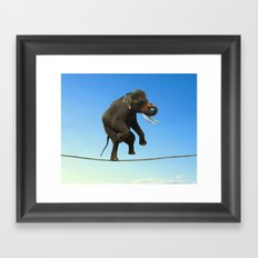 Elephant Walking on wire Framed Art Print