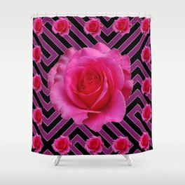 FUCHSIA PINK ROSES ON PUCE-BLACK GRAPHIC Shower Curtain