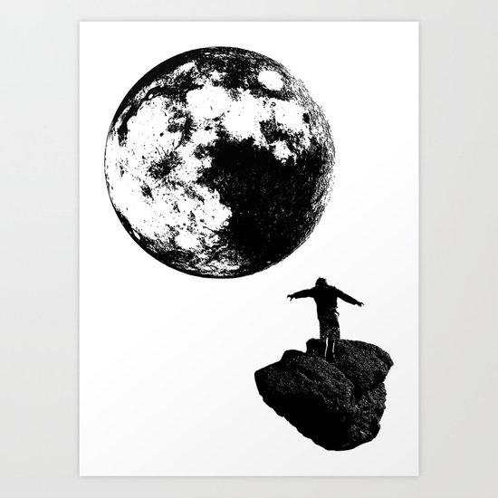 Boy and the Moon Art Print