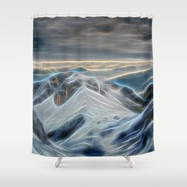 Stormy Mountains Electrified Shower Curtain