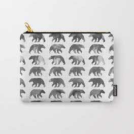 Watercolor Bear - Black & White Carry-All Pouch