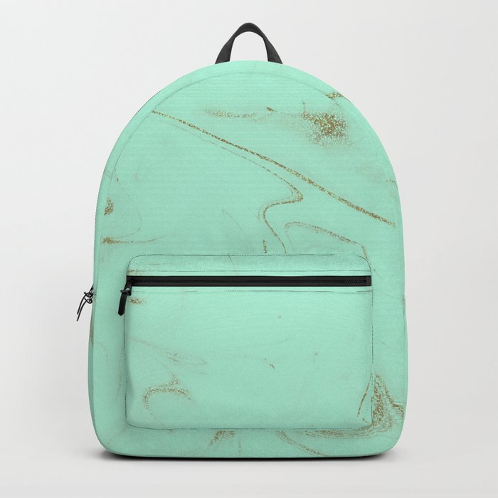 64eeef1058 Elegant gold and mint marble image Backpack by inovarts