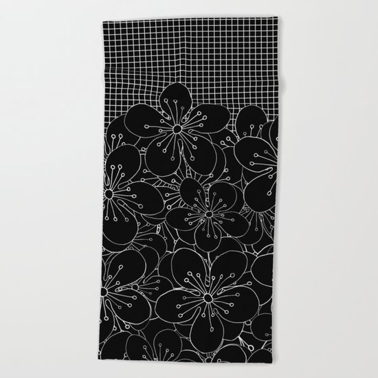 Cherry Blossom Grid Black Beach Towel