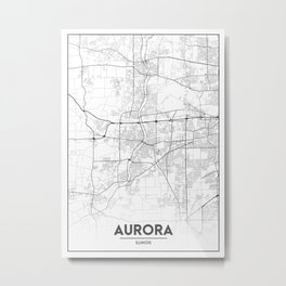 Minimal City Maps - Map of Aurora, Illinois, United States Metal Print