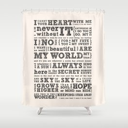 I carry your heart, EE Cummings Shower Curtain