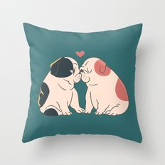 English Bulldog Kisses Throw Pillow