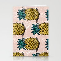 pinapple Stationery Cards featuring Large pina palatern by Jennie Ablanedo