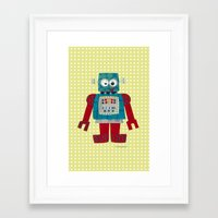 50s Framed Art Prints featuring whirr 50s retro robot by blossyfloss