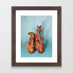 Wooden Squirrel Bondage Family Framed Art Print