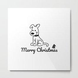 Quarantined Christmas - Cute Dog - Black line Metal Print