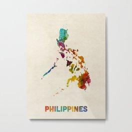 Philippines Watercolor Map Metal Print