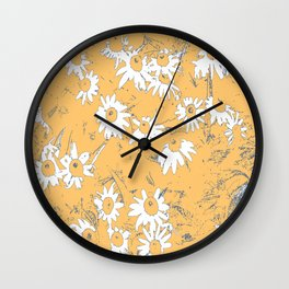 White Coneflowers with Orange Background Wall Clock