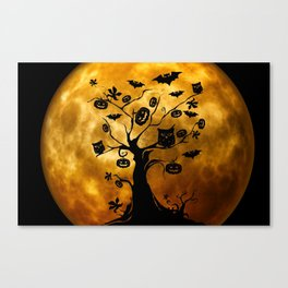 Surreal halloween tree with pumpkins, bats and owls Canvas Print