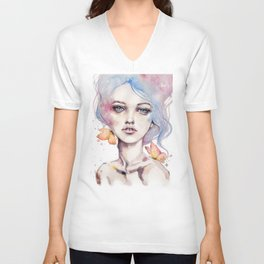 With Elegance (female Portrait) Unisex V-Neck