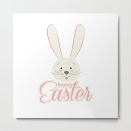 Cute Bunny Ears Happy Easter Egg Hunt Party Decoration Pink Color For Girl Metal Print