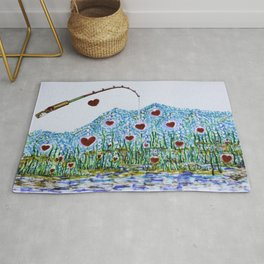 Fishing for love Rug