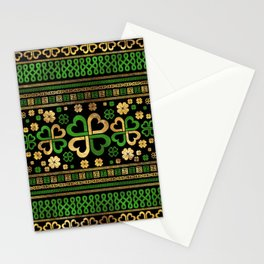 Lucky Shamrock Four-leaf Clover Green and Gold Stationery Cards