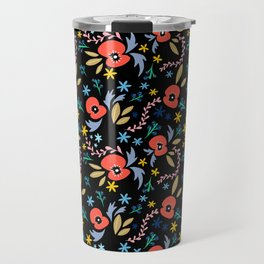 Poppys on black Travel Mug