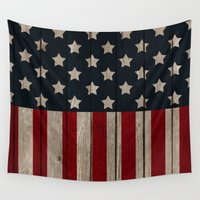 patriotic Wall Tapestries featuring Patriotic Wood Texture #2 by Juliana RW