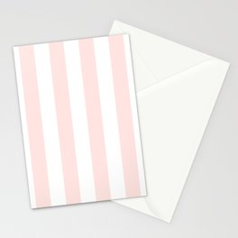 Vertical Stripes - White and Pastel Pink Stationery Cards