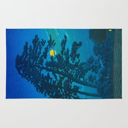 Vintage Japanese Woodblock Print Kawase Hasui Haunting Tree Silhouette At Night Moonlight Rug