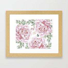 Girly Pastel Pink Roses Garden Framed Art Print