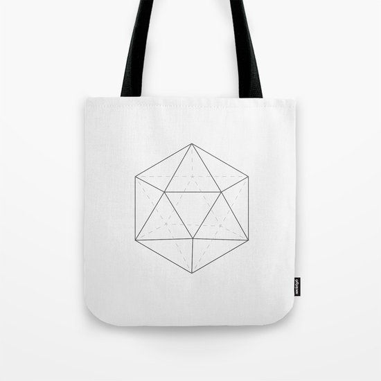 Black & white Icosahedron Tote Bag