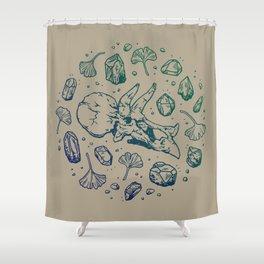 Triceratops Rocks! | Navy & Green Ombré Shower Curtain