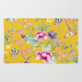Yellow Chinoiserie Asian Floral Print Rug