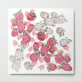 WHO LOVES STRAWBERRIES Metal Print