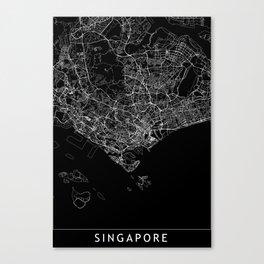 Singapore Black Map Canvas Print