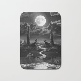 XVIII. The Moon Tarot Card Illustration Bath Mat