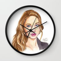 law Wall Clocks featuring J-Law by Kaitlin Polak