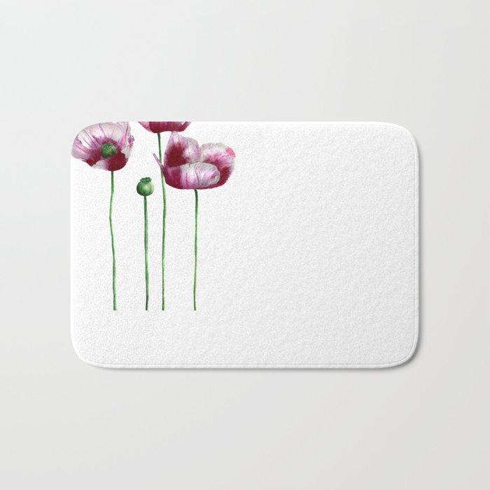Lilac poppies Bath Mat