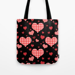 Red Gingham Hearts Tote Bag