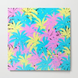 Neon Palm Trees 80s Pastel Palm Trees Metal Print