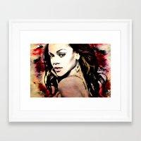 rihanna Framed Art Prints featuring rihanna by mark ashkenazi