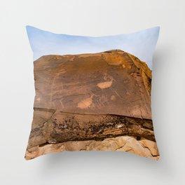 Desert Rock Art - Petroglyphs - IIa Throw Pillow