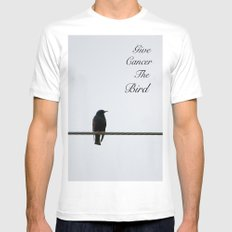 Give Cancer the Bird 2 MEDIUM Mens Fitted Tee White