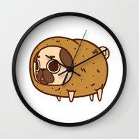 potato Wall Clocks featuring Puglie Potato by Puglie Pug