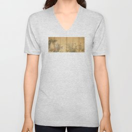Japanese Edo Period Six-Panel Gold Leaf Screen - Spring and Autumn Flowers Unisex V-Neck