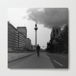 a boy on an empty street Metal Print